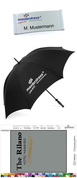 Promotionwear-Beispiele: Namensschild, Regenschirm und Schmutzfangmatte